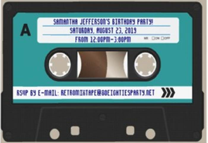 Retro Cassette Invitation Golden Ticket