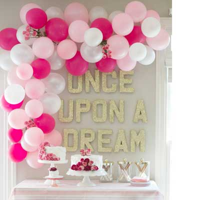 Balloon And Glitter Letters Dessert Table