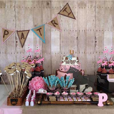 wood contact paper dessert table