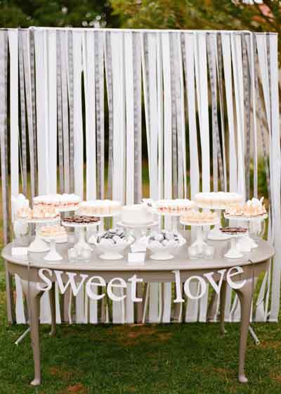 fabric strips dessert table