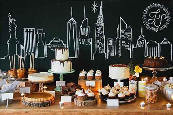 new york skyline chalkboard dessert table backdrop