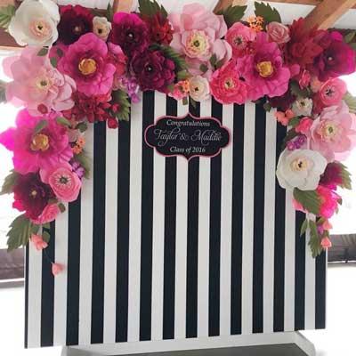 paper flowers striped backdrop