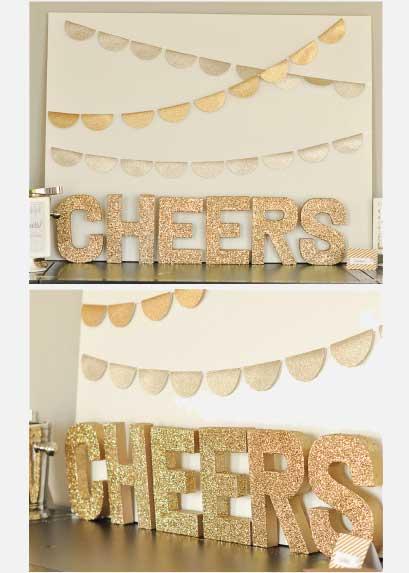 dessert table glitter letters