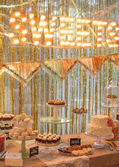 dessert table marquee light letters
