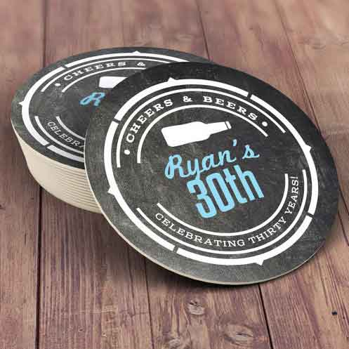 personalized drinks coasters 30th birthday