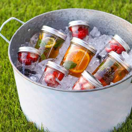 mason jar fruit tea party drinks