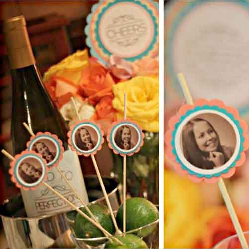 custom photo party drinks stirrers