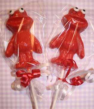 elmo chocolate lollipops