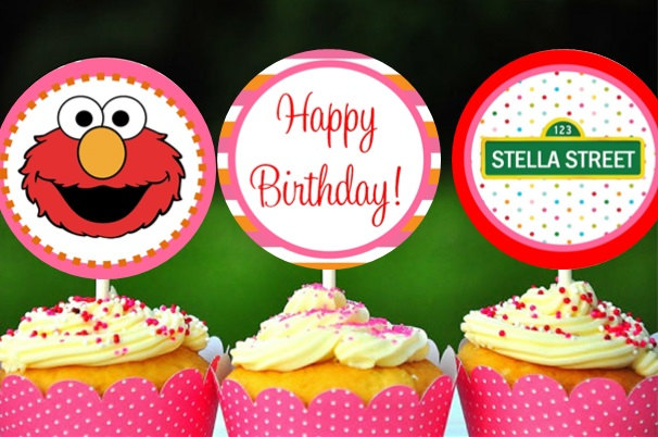 personalized elmo cupcake toppers