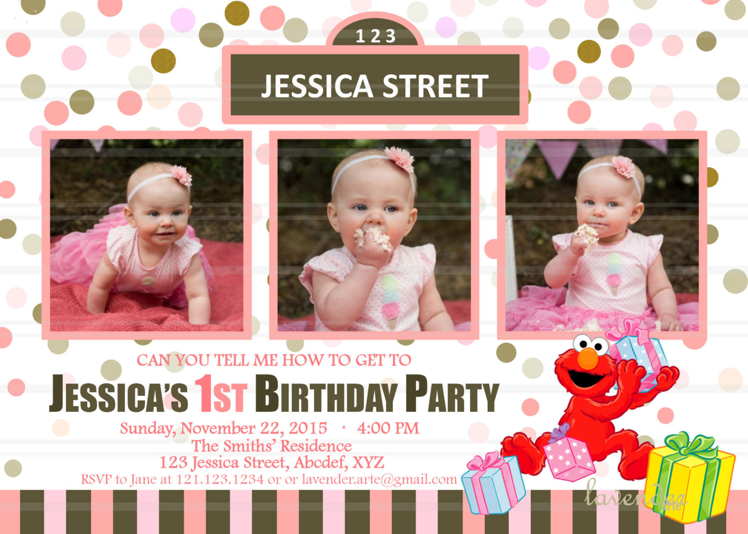 elmo 1st birthday invitation