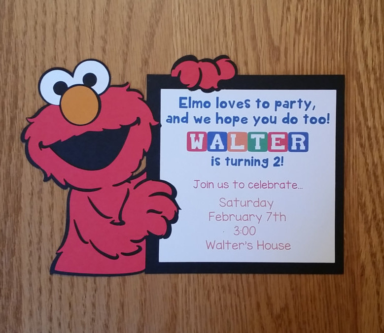 elmo personalized birthday invitation