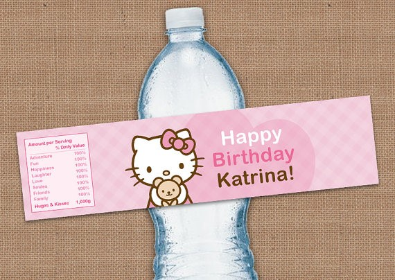hello kitty water bottle labels