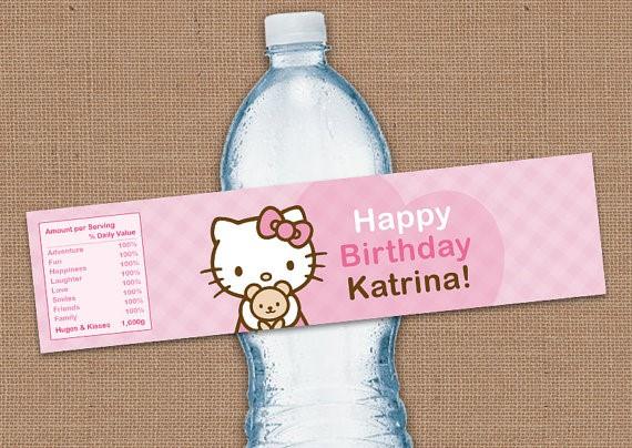 hello kitty water bottle labels