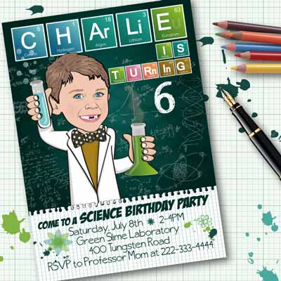 personalized science party cartoon invitation