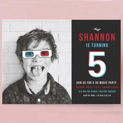 personalized turning 5 photo invitation