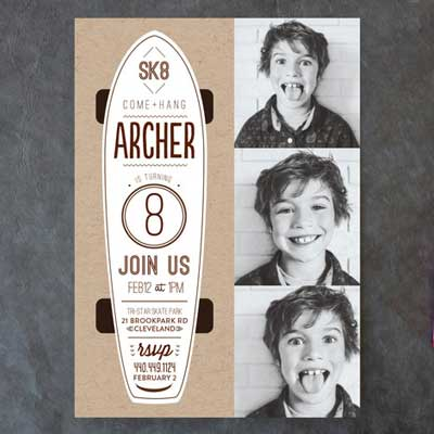 personalized photo skateboard invitation