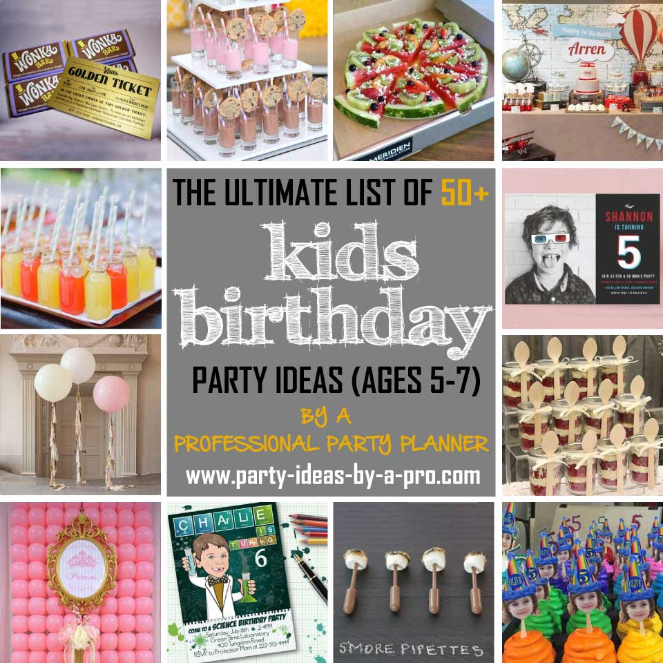 kids birthday party ideas collage