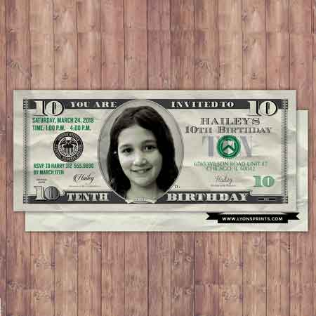 custom dollar bill invitations