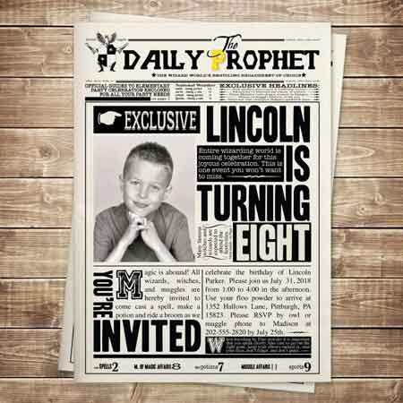 daily prophet newspaper invitation