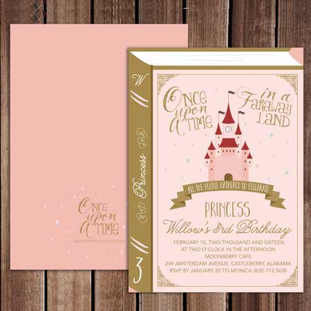 once upon a time book invitation