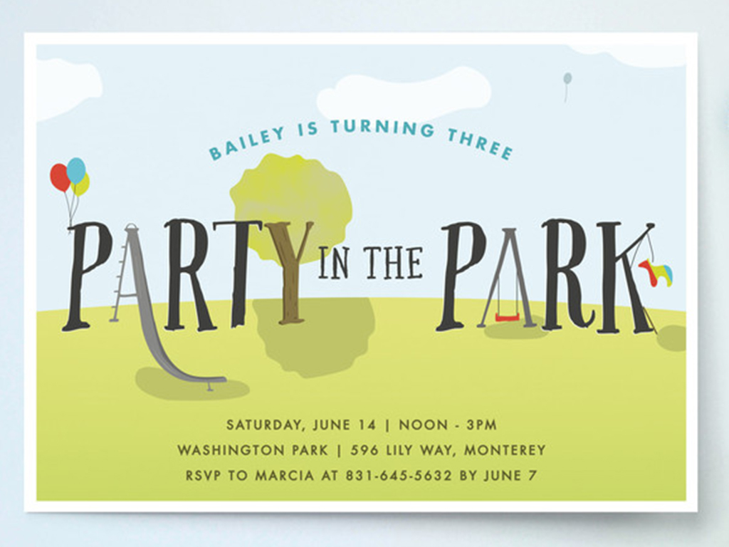 party in the park invitations