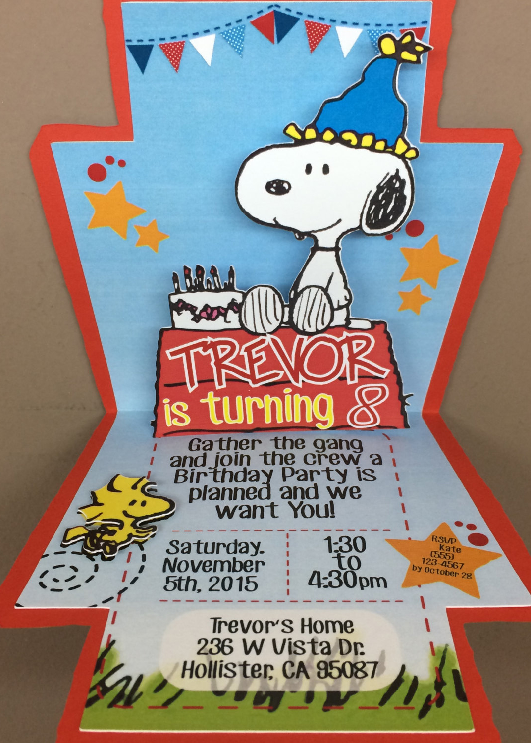 snoopy pop up invitation