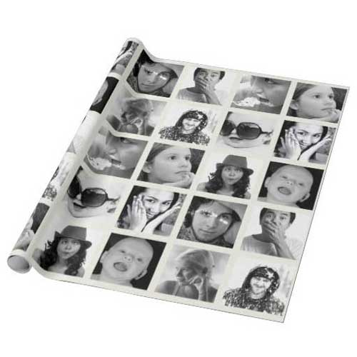 custom photo collage gift wrapping paper
