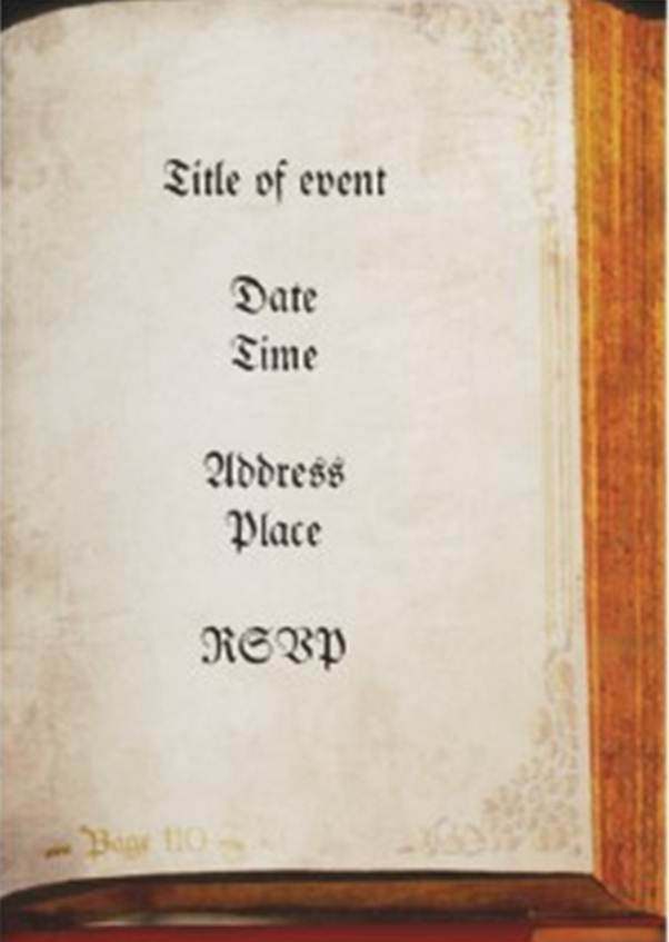 antique book invitation