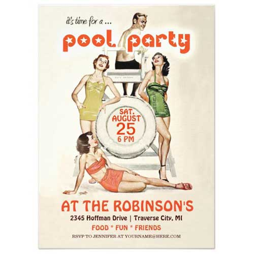 retro pool party invitations