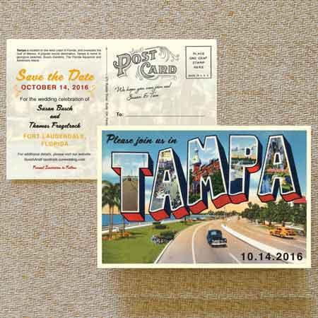 retro postcard invitations