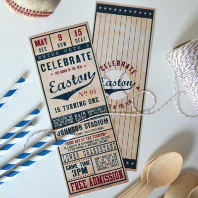 baseball ticket invitations