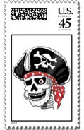 pirate postage stamps