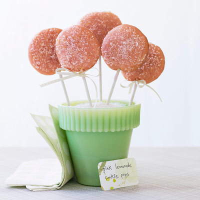 princess party ideas pink lemonade cookie pops