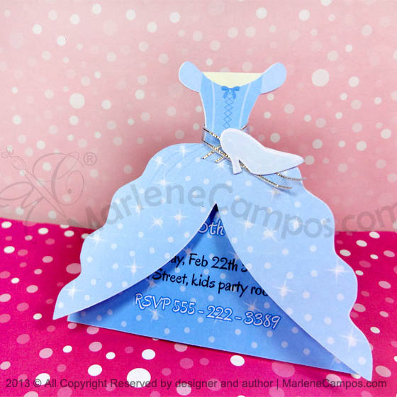 princess dress party invitation