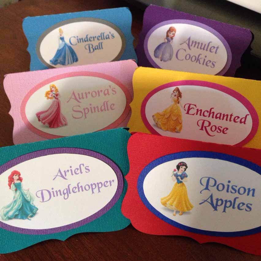 disney princess food tent cards