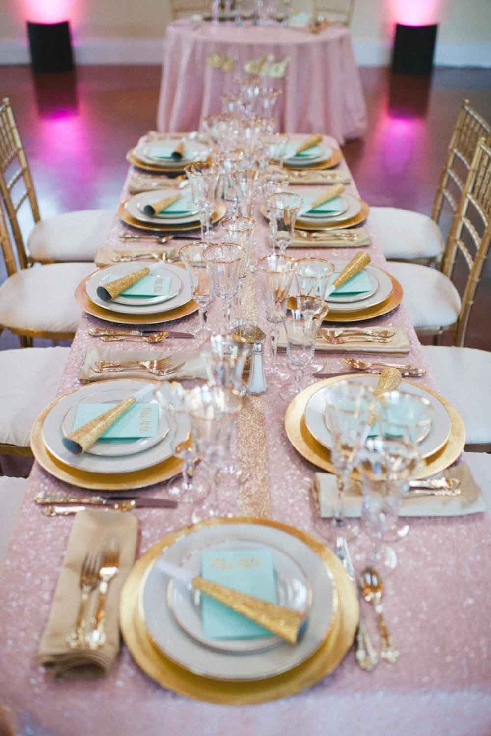 pink sequined table runner