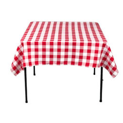 red and white check table cover cloth