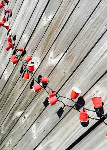 redneck party decorations red cup string lights