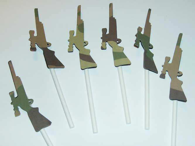 redneck cupcake toppers camouflage rifles