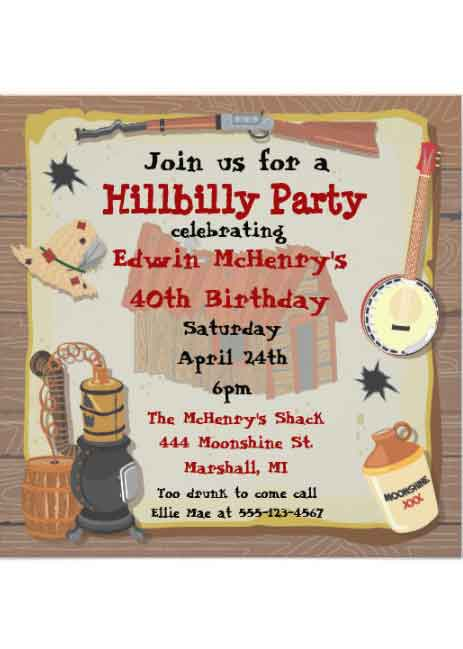 hillbilly party Invitation