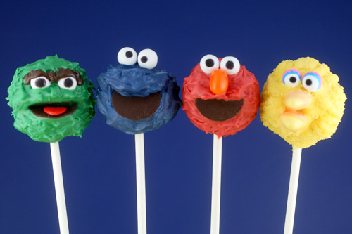 sesame street birthday party cake pops
