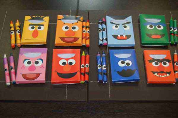 personalized sesame street crayon box party favors