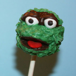 sesame street oscar cake pops