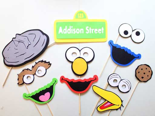 Sesame Street Photo Booth Props