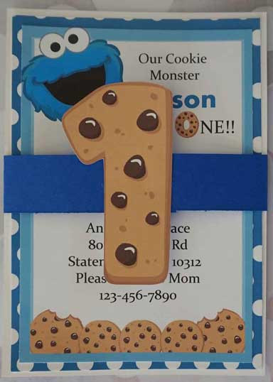sesame street cookie monster party Invitation