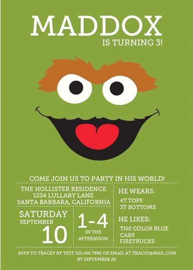 sesame street party Invitation oscar