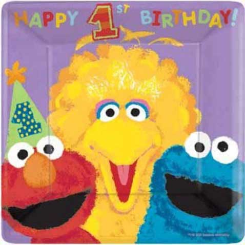 sesame street 1st birthday party plates