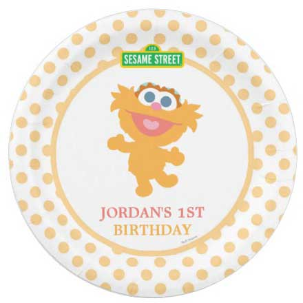 personalized sesame street birthday party plates