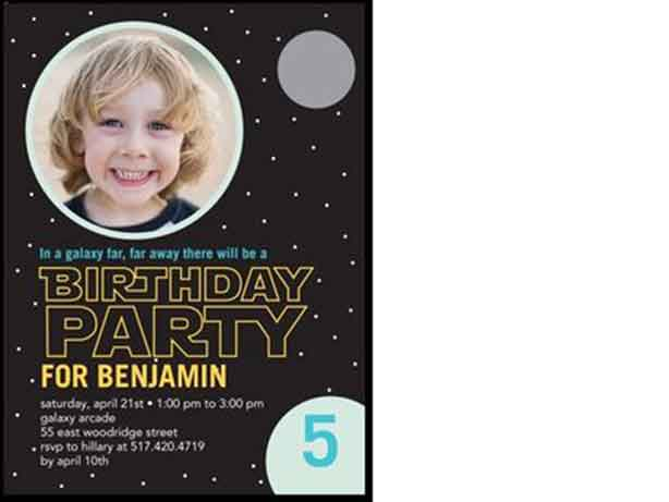 star wars inspired birthday invitation