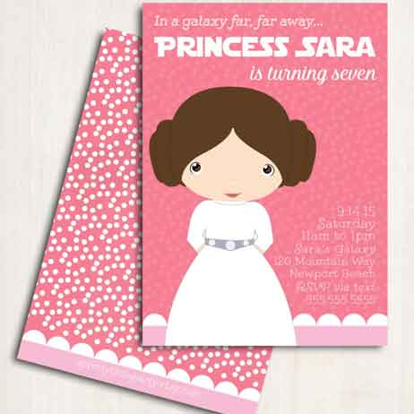 star wars birthday invitations girls
